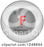 Clipart Of A 3d Round Red And Silver Flourine Chemical Element Icon Royalty Free Vector Illustration