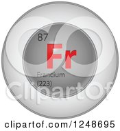 Clipart Of A 3d Round Red And Silver Francium Chemical Element Icon Royalty Free Vector Illustration