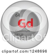 3d Round Red And Silver Gadolinium Chemical Element Icon