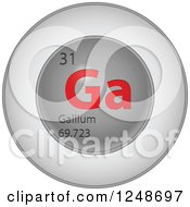 3d Round Red And Silver Gallium Chemical Element Icon