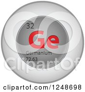 3d Round Red And Silver Germanium Chemical Element Icon