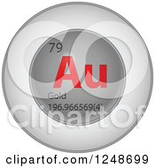3d Round Red And Silver Gold Chemical Element Icon