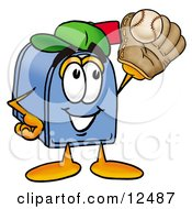 Clipart Picture Of A Blue Postal Mailbox Cartoon Character Catching A Baseball With A Glove