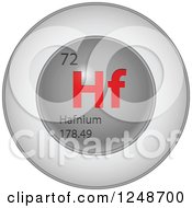 Clipart Of A 3d Round Red And Silver Hafnium Chemical Element Icon Royalty Free Vector Illustration