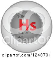 3d Round Red And Silver Hassium Chemical Element Icon