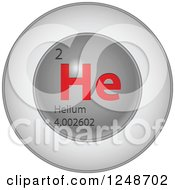 Clipart Of A 3d Round Red And Silver Helium Chemical Element Icon Royalty Free Vector Illustration