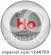 3d Round Red And Silver Holmium Chemical Element Icon