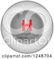 3d Round Red And Silver Hydrogen Chemical Element Icon