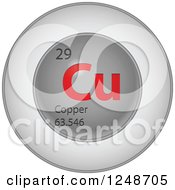 3d Round Red And Silver Copper Chemical Element Icon