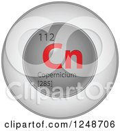 3d Round Red And Silver Copernicium Chemical Element Icon