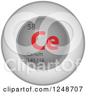 3d Round Red And Silver Cerium Chemical Element Icon