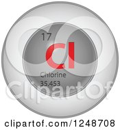 Clipart Of A 3d Round Red And Silver Chlorine Chemical Element Icon Royalty Free Vector Illustration
