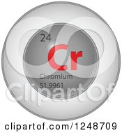 3d Round Red And Silver Chromium Chemical Element Icon