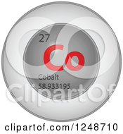 Clipart Of A 3d Round Red And Silver Cobalt Chemical Element Icon Royalty Free Vector Illustration