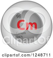 3d Round Red And Silver Curium Chemical Element Icon