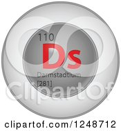 3d Round Red And Silver Darmstadtium Chemical Element Icon