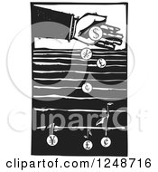 Clipart Of A Black And White Woodcut Hand Dropping Currency Coins Into A Field To Grow Money Royalty Free Vector Illustration