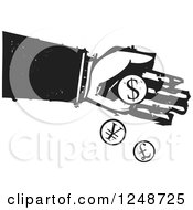 Clipart Of A Black And White Woodcut Hand Dropping Currency Coins Royalty Free Vector Illustration