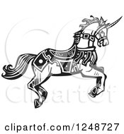 Clipart Of A Black And White Woodcut Running Unicorn In Livery Royalty Free Vector Illustration