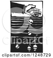 Clipart Of A Black And White Woodcut Hand Dropping Seeds Of Death Into A Field Royalty Free Vector Illustration