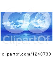 Clipart Of 3d Fictional Planets Above A Blue Ocean Royalty Free Illustration