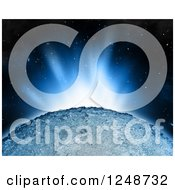 Clipart Of A 3d Sunrise Over A Foreign Planet Royalty Free Illustration
