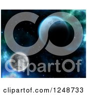 Clipart Of A 3d Surrel Moon And Planet In Outer Space Royalty Free Illustration