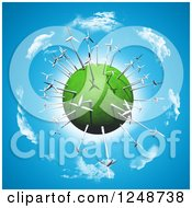 Clipart Of A 3d Green Planet With Wind Turbines Over Blue Sky And Clouds Royalty Free Illustration by KJ Pargeter