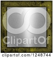 Clipart Of A 3d Metal Plaque Framed In Hazard Stripes Royalty Free Illustration by KJ Pargeter