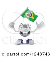 Clipart Of A 3d Soccer Ball Character Waving A Brazilian Flag Royalty Free Illustration by KJ Pargeter