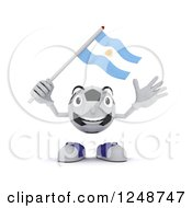 Clipart Of A 3d Soccer Ball Character Waving An Argentina Flag Royalty Free Illustration by KJ Pargeter