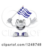 Clipart Of A 3d Soccer Ball Character Waving A Greek Flag Royalty Free Illustration