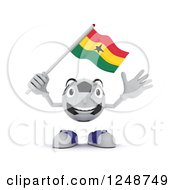 Clipart Of A 3d Soccer Ball Character Waving A Ghana Flag Royalty Free Illustration by KJ Pargeter