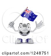 Clipart Of A 3d Soccer Ball Character Waving An Australian Flag Royalty Free Illustration by KJ Pargeter