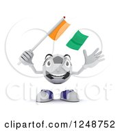 Clipart Of A 3d Soccer Ball Character Waving An Ivory Coast Flag Royalty Free Illustration by KJ Pargeter
