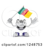 Clipart Of A 3d Soccer Ball Character Waving A Camaroon Flag Royalty Free Illustration by KJ Pargeter