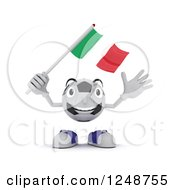 Clipart Of A 3d Soccer Ball Character Waving An Italian Flag Royalty Free Illustration by KJ Pargeter