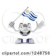Clipart Of A 3d Soccer Ball Character Waving A Uruguay Flag Royalty Free Illustration by KJ Pargeter