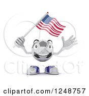 Clipart Of A 3d Soccer Ball Character Waving An American Flag Royalty Free Illustration by KJ Pargeter