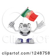 Clipart Of A 3d Soccer Ball Character Waving A Portugal Flag Royalty Free Illustration
