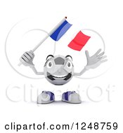 Clipart Of A 3d Soccer Ball Character Waving A French Flag Royalty Free Illustration by KJ Pargeter