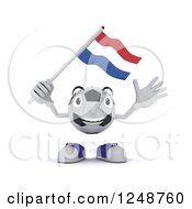 Clipart Of A 3d Soccer Ball Character Waving A Netherlands Flag Royalty Free Illustration by KJ Pargeter