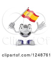 Clipart Of A 3d Soccer Ball Character Waving A Spanish Flag Royalty Free Illustration by KJ Pargeter