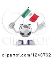 Clipart Of A 3d Soccer Ball Character Waving A Mexican Flag Royalty Free Illustration by KJ Pargeter