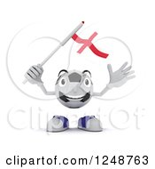 Clipart Of A 3d Soccer Ball Character Waving An England Flag Royalty Free Illustration by KJ Pargeter