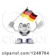 Clipart Of A 3d Soccer Ball Character Waving A German Flag Royalty Free Illustration