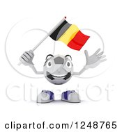 Clipart Of A 3d Soccer Ball Character Waving A Belgium Flag Royalty Free Illustration by KJ Pargeter