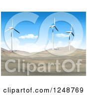 Clipart Of A 3d Desert Landscape With Wind Turbines Royalty Free Illustration by KJ Pargeter