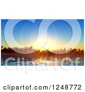 Clipart Of A 3d Sunset With Flares Over Island Palm Trees And A Bay Royalty Free Illustration