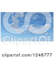 Clipart Of A Background Of Blue Sky With 3d Puffy Clouds Royalty Free Illustration